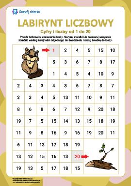 Labirynt liczbowy nr 6: liczby od 1 do 20