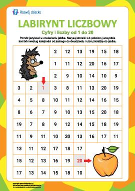 Labirynt liczbowy nr 8: liczby od 1 do 20