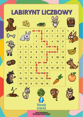 Kolorowanka – labirynt liczbowy od jednego do pięciu