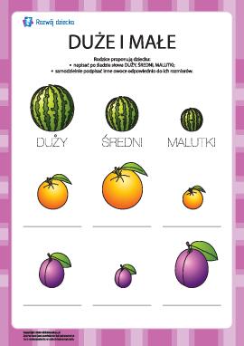 Podpisz duże oraz małe owoce