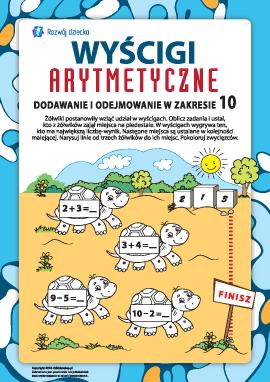 Wyścigi arytmetyczne żółwików: dodawanie i odejmowanie w zakresie 10