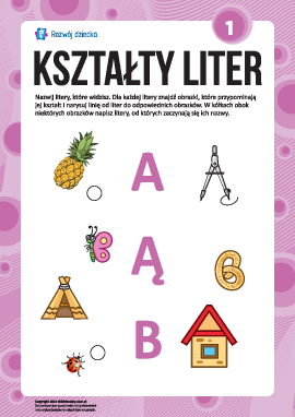 """Uczymy się liter pod względem kształtów nr 1: """"A"""", """"Ą"""", """"B"""" (alfabet polski)"""