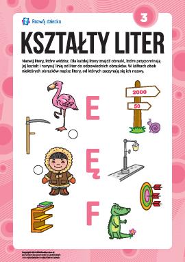 """Uczymy się liter pod względem kształtów nr 3: """"E"""", """"Ę"""", """"F"""" (alfabet polski)"""