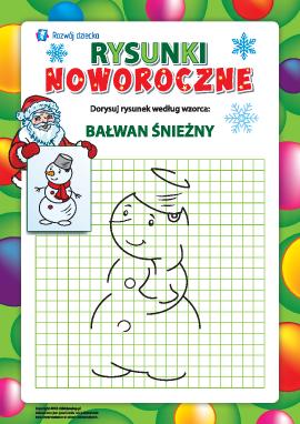 Dorysuj rysunek według wzorca: bałwan