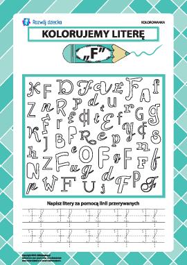 """Kolorujemy literę """"F"""" (alfabet polski)"""