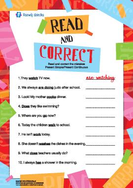 Poprawiamy błędy w zdaniach w Present Simple i Present Continuous