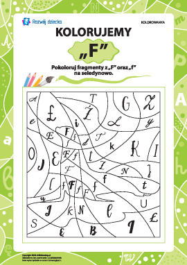 Kolorujemy według literki ,,F'' (alfabet polski)
