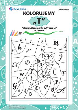 Kolorujemy według literki ,,T'' (alfabet polski)