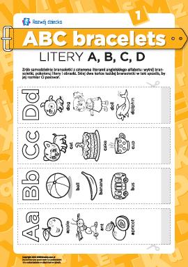 Bransolety literowe: litery A, B, C, D