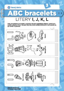 Bransolety literowe: litery I, J, K, L