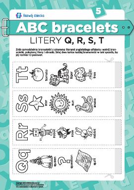 Bransolety literowe: litery Q, R, S, T