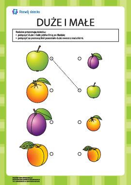 Znajdź owoce duże oraz małe