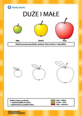 Duże oraz małe: kolorowanka jabłka