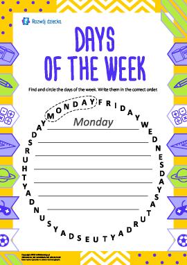 Uczymy się dni tygodnia (język angielski)