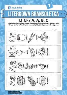 Bransoletki z literkami A, Ą, B, C (język polski)