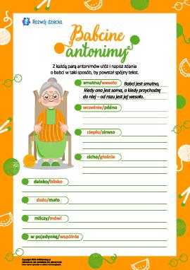 Babcine antonimy: piszemy tekst