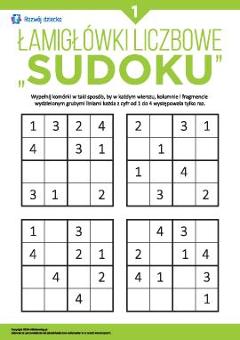 """Liczbowe łamigłówki """"Sudoku"""" nr 1"""