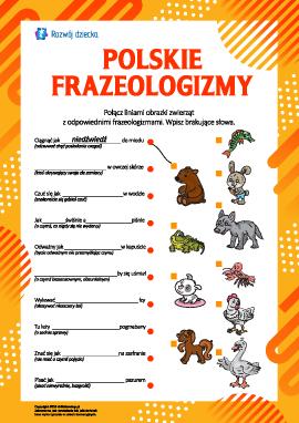 Uczymy się frazeologizmów o zwierzętach (język polski)