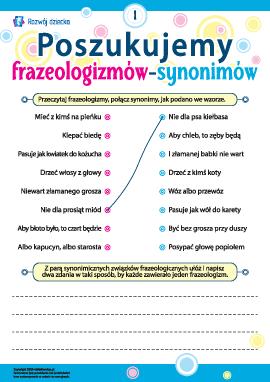 Poszukujemy frazeologizmów-synonimów nr 1 (język polski)