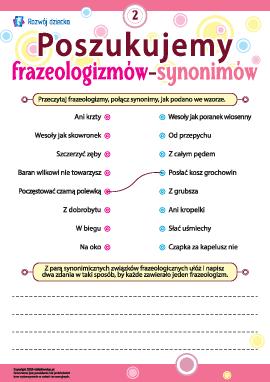 Poszukujemy frazeologizmów-synonimów nr 2 (język polski)