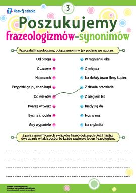 Poszukujemy frazeologizmów-synonimów nr 3 (język polski)