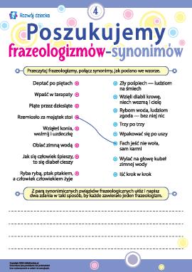 Poszukujemy frazeologizmów-synonimów nr 4 (język polski)