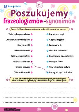 Poszukujemy frazeologizmów-synonimów nr 6 (język polski)