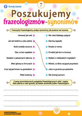 Poszukujemy frazeologizmów-synonimów nr 7 (język polski)