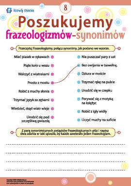 Poszukujemy frazeologizmów-synonimów nr 8 (język polski)