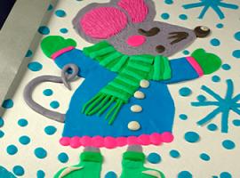 Mysz z plasteliny: stwórz zimowe panneau