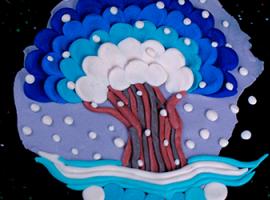 Zimowe drzewo: objętościowe panneau plastelinowe