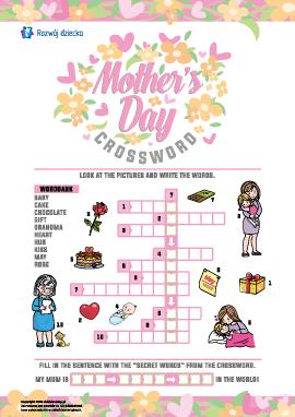 """Krzyżówka w języku angielskim """"Dzień Matki"""""""