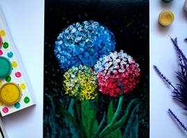 Malarstwo kwiatkowe farbami paluszkowymi