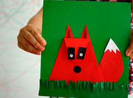 Młody lis – aplikacja z papieru kolorowego
