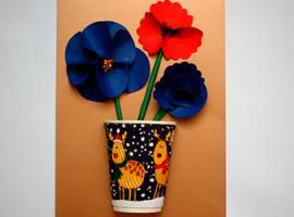 Panneau z kwiatami w wazie: jak otrzymać efekt 3D