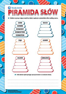 Piramida słów: wyrazy pokrewne