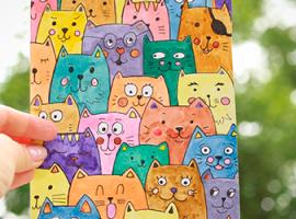 Koty narysowane farbą wodną: atrakcyjne grafiki dla dzieci