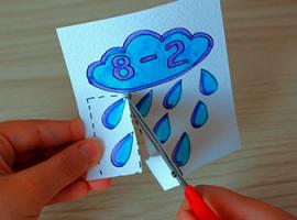 Ćwiczenie na odejmowanie – chmurka z deszczem