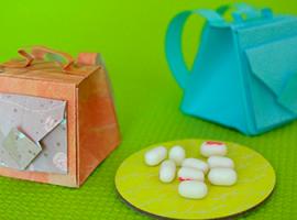 Plecaki upominkowe dla przyjaciół, wykonane w technice origami