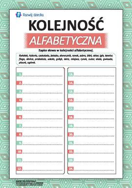 Piszemy słowa w kolejności alfabetycznej
