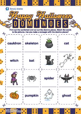 """Łamigłówka-domino """"Halloween"""" (język angielski)"""